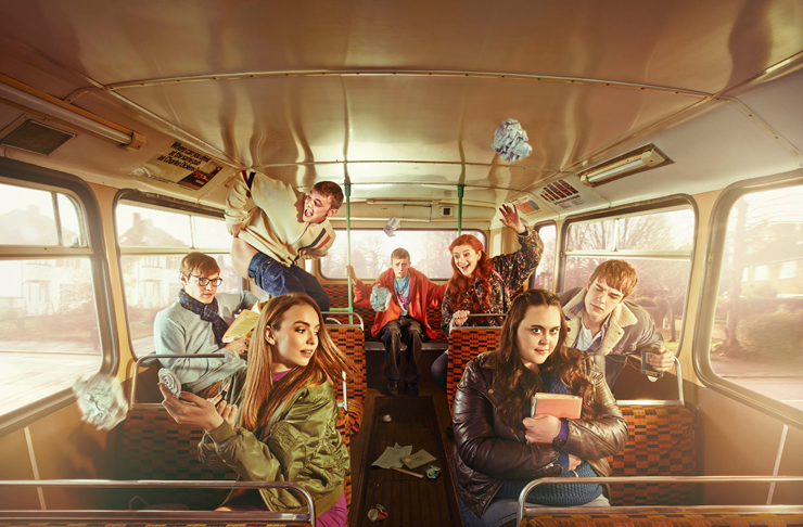 The cast of My Mad Fat Diary are crowded into a school bus