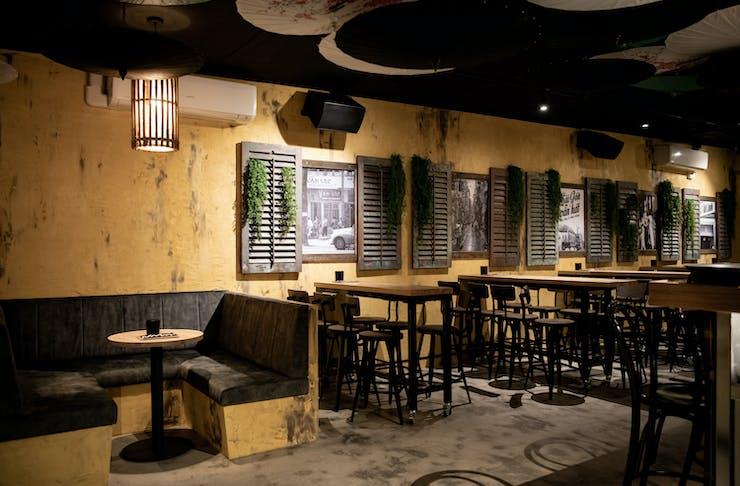 the vietnam-inspired interior of a bar