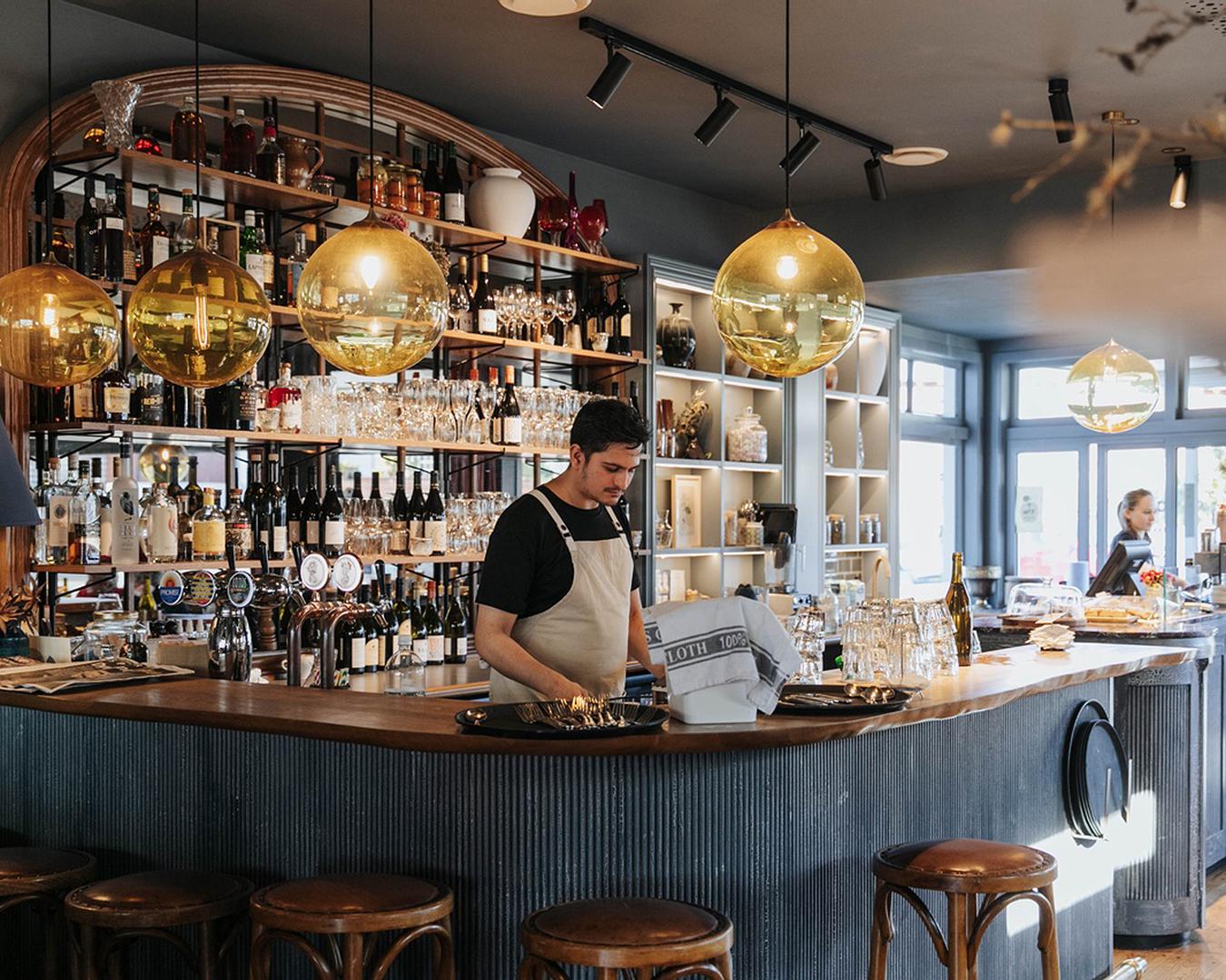 The lovely wooden bar at No.7 Balmac.
