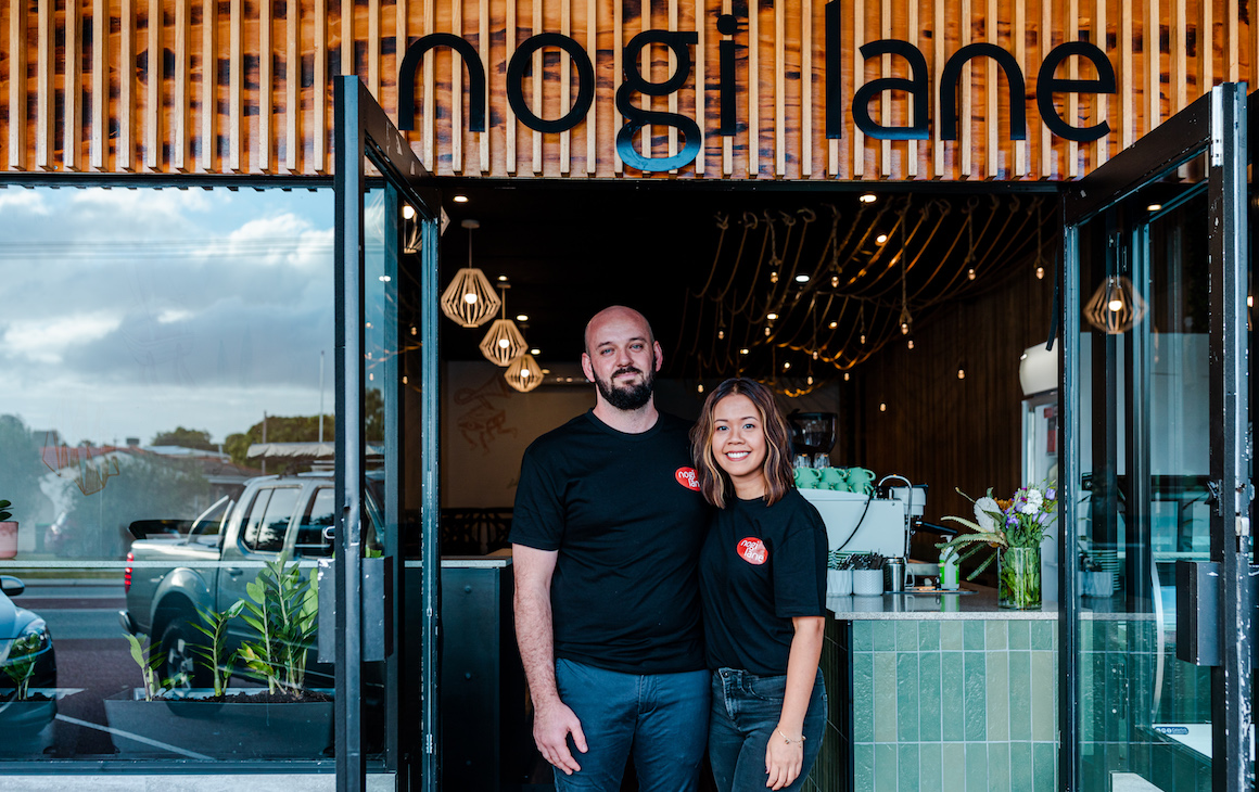 Callum Ellis and Tracey Ly out front of Nogi lane