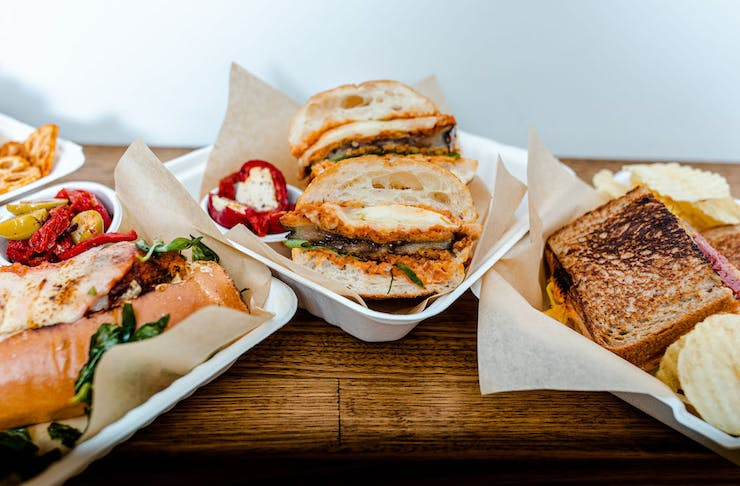 a few sandwiches from Oh So Deli