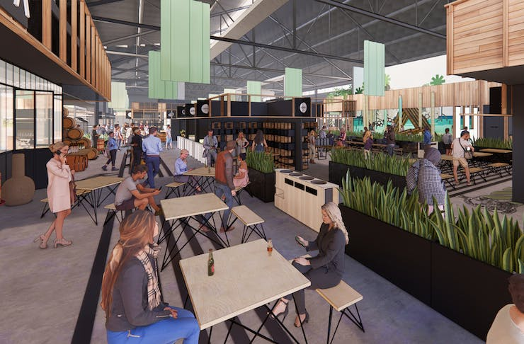 Artists' impression of the communal eating space at Origins Market