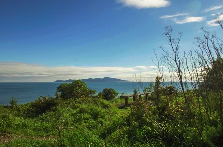 A lookout on the Paekakariki to Pukerua track that looks out to Kapiti Island. Blue skies. Amazing.