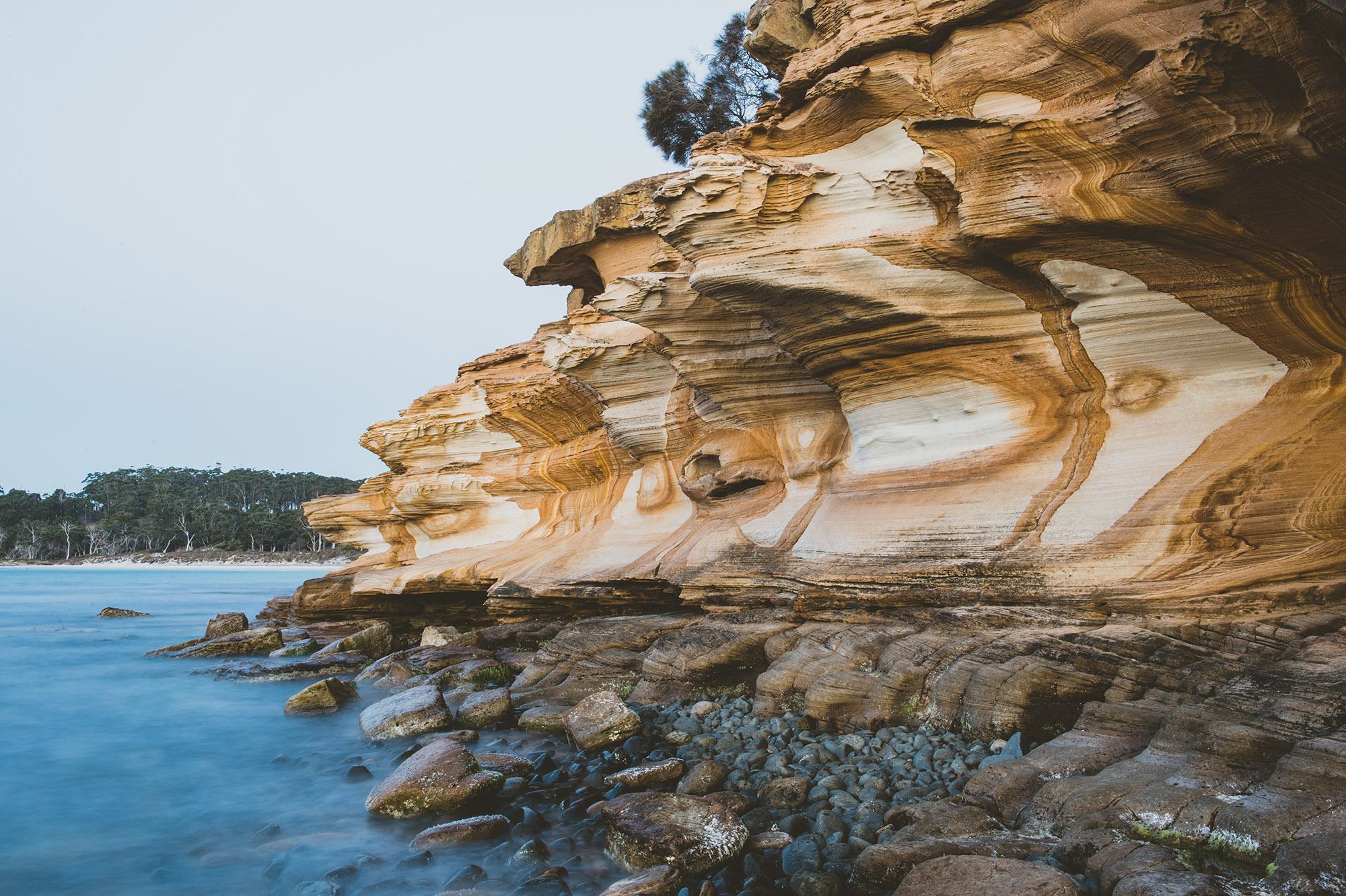 The Painted Cliffs On Maria Island.