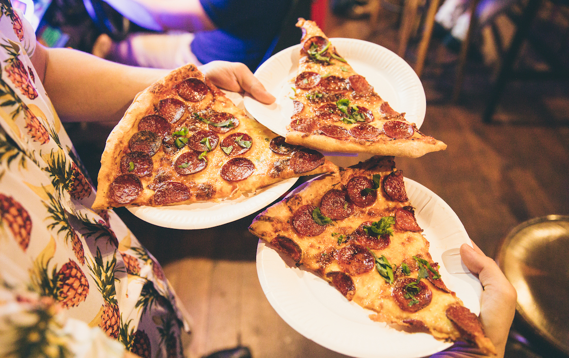 3 slices of pizza at Palace Arcade in Victoria Park