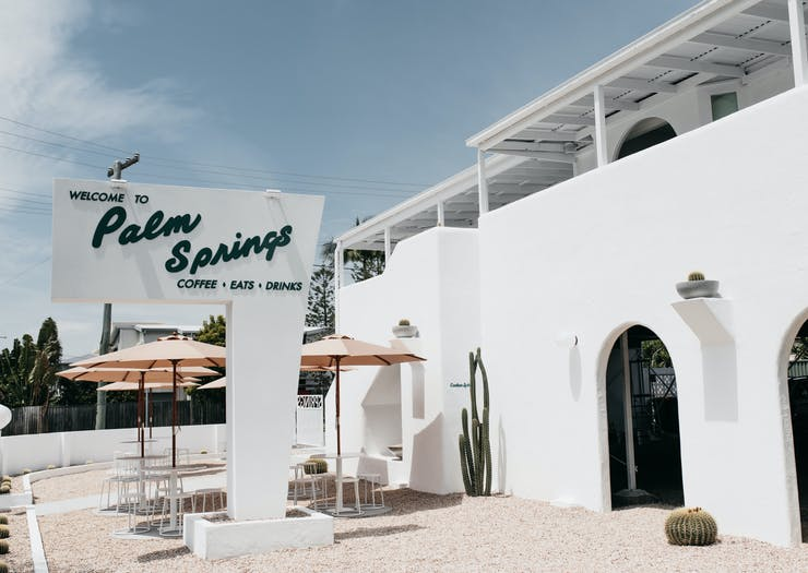 The whitewashed exterior of Burleigh's new cafe, Palm Springs.