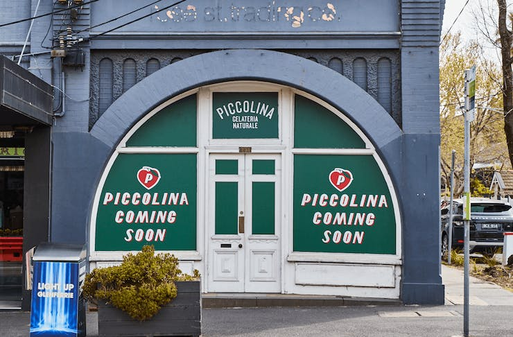 The exterior to the new Piccolina store with window wraps up.