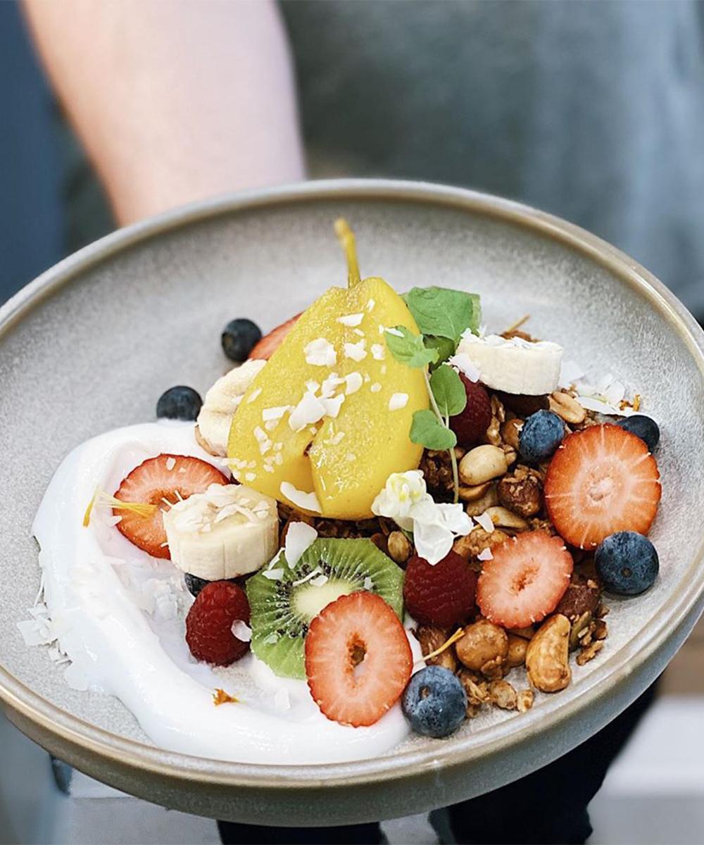 A breakfast panacotta with granola