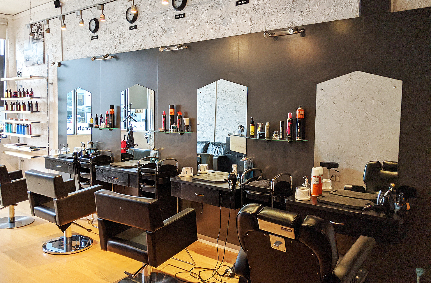 The interior at Right Cuts, one of the best hairdressers in Auckland.