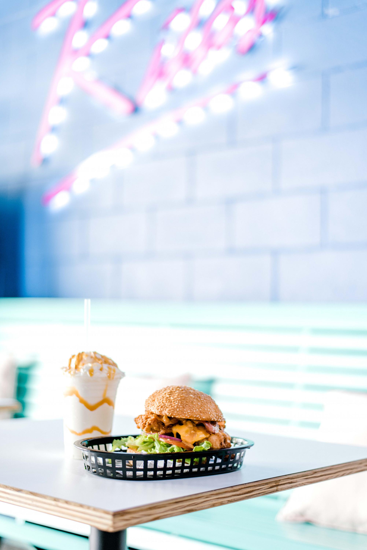 a burger and a shake