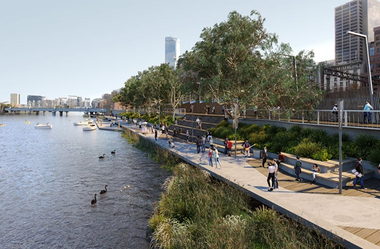 A concept shot of the Yarra river on a clear day with dense green shrubs and plants surrounding the walkway