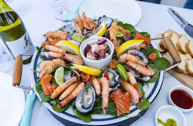 A seafood platter onboard Rottnest Cruises Seafood Experience