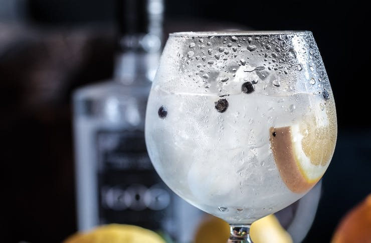 Wine glass full of Rottnest Island Gin and tonic with a slice of lemon and black peppercorns.