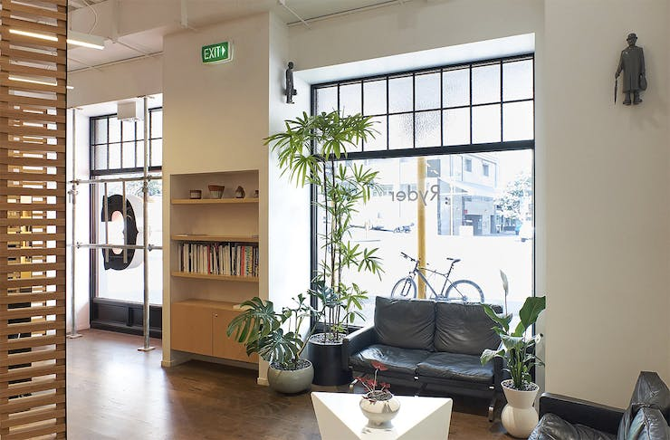 The light-filled and green interior at Ryder salon.
