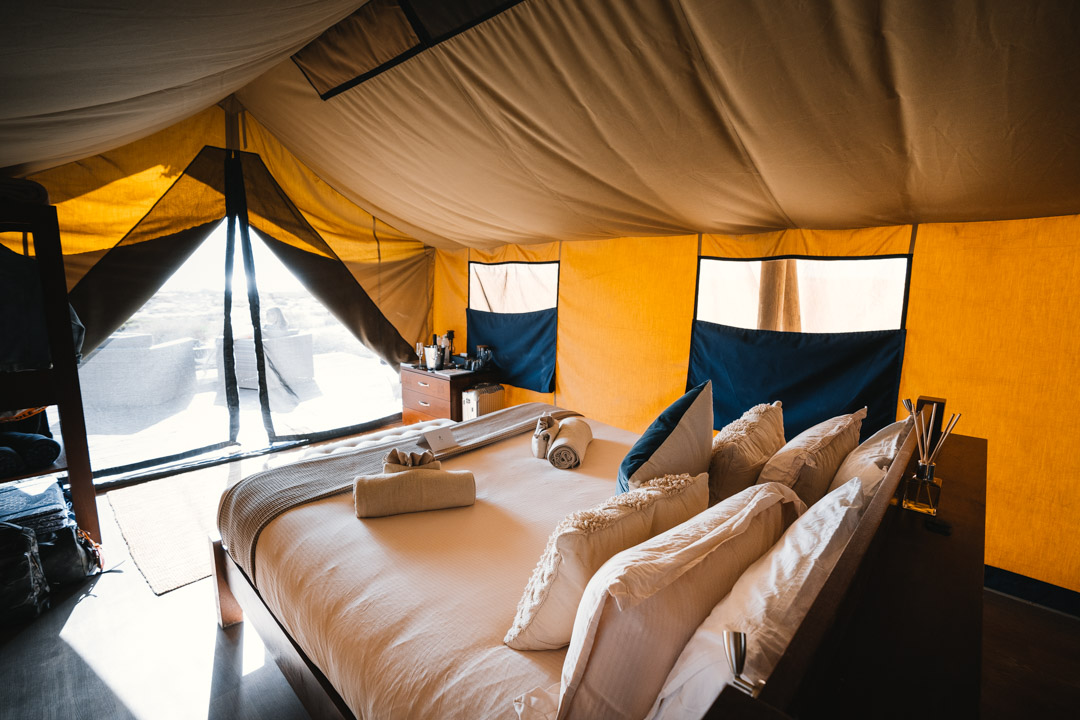 Interior of the glamping tents at Sal Salis