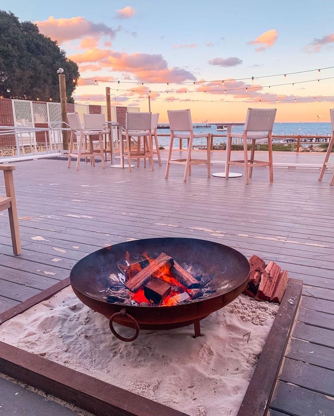 A beachside bonfire at Samphire Rottnest.