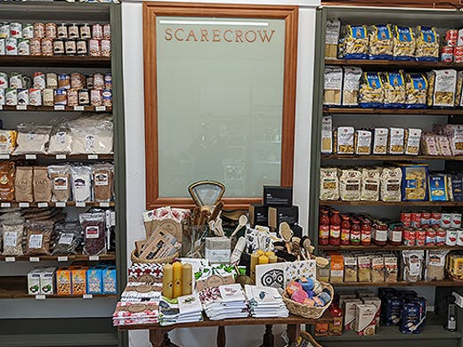 Stocked shelves at Scarecrow.