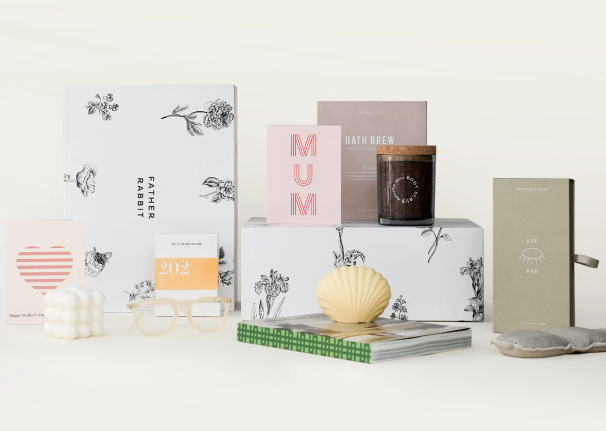 A collection of gifts for mum from father rabbit