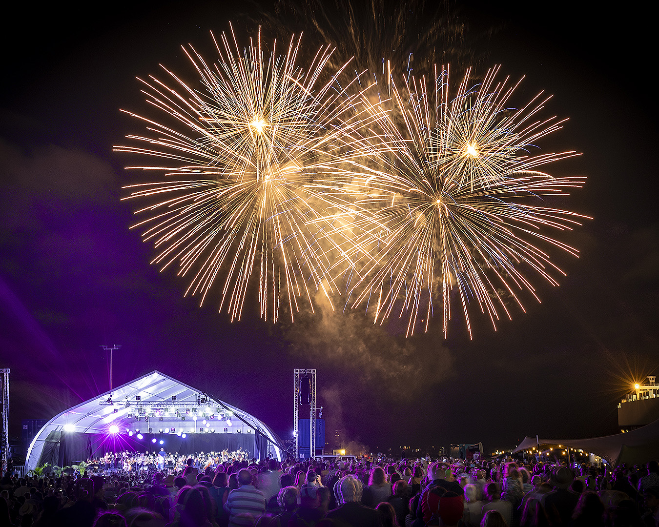 Fireworks light up the sky above the Seeport Festival.