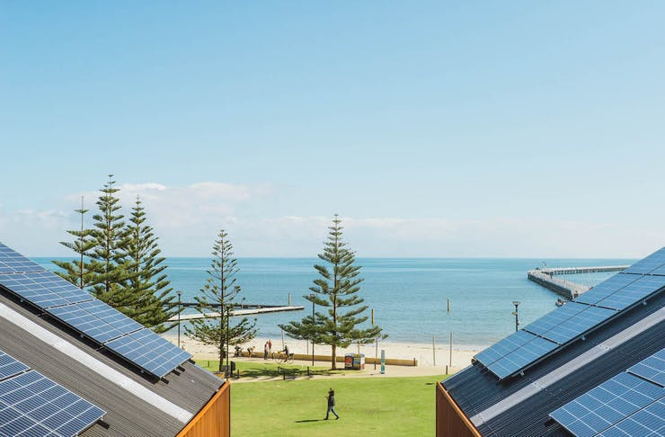 View of Geographe Bay from behind the rood of Shelter Brewing Co in Busselton