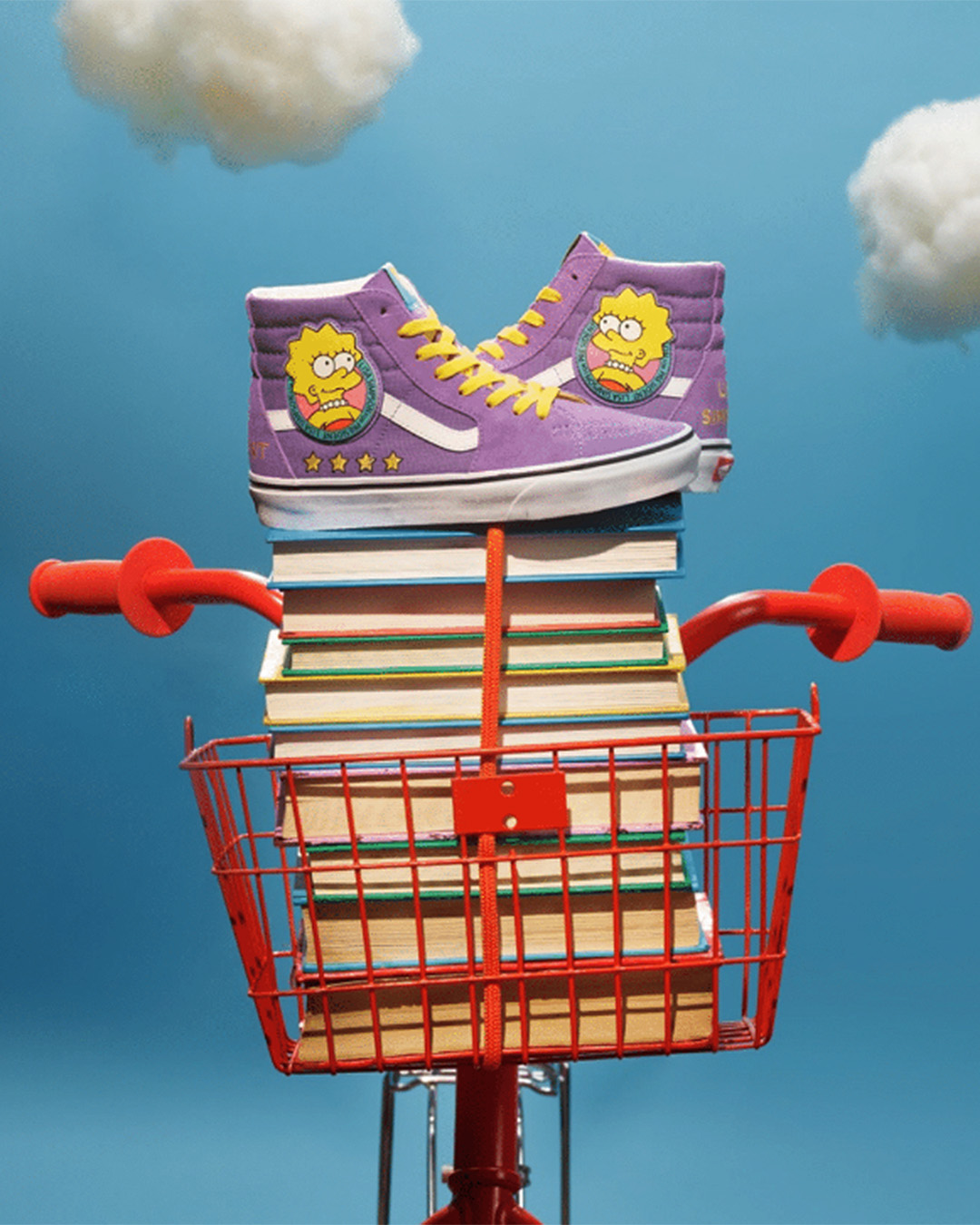The Simpsons x Vans Sk8-Hi tops featuring Lisa Simpson and emblazoned with a Lisa Simpson badge.