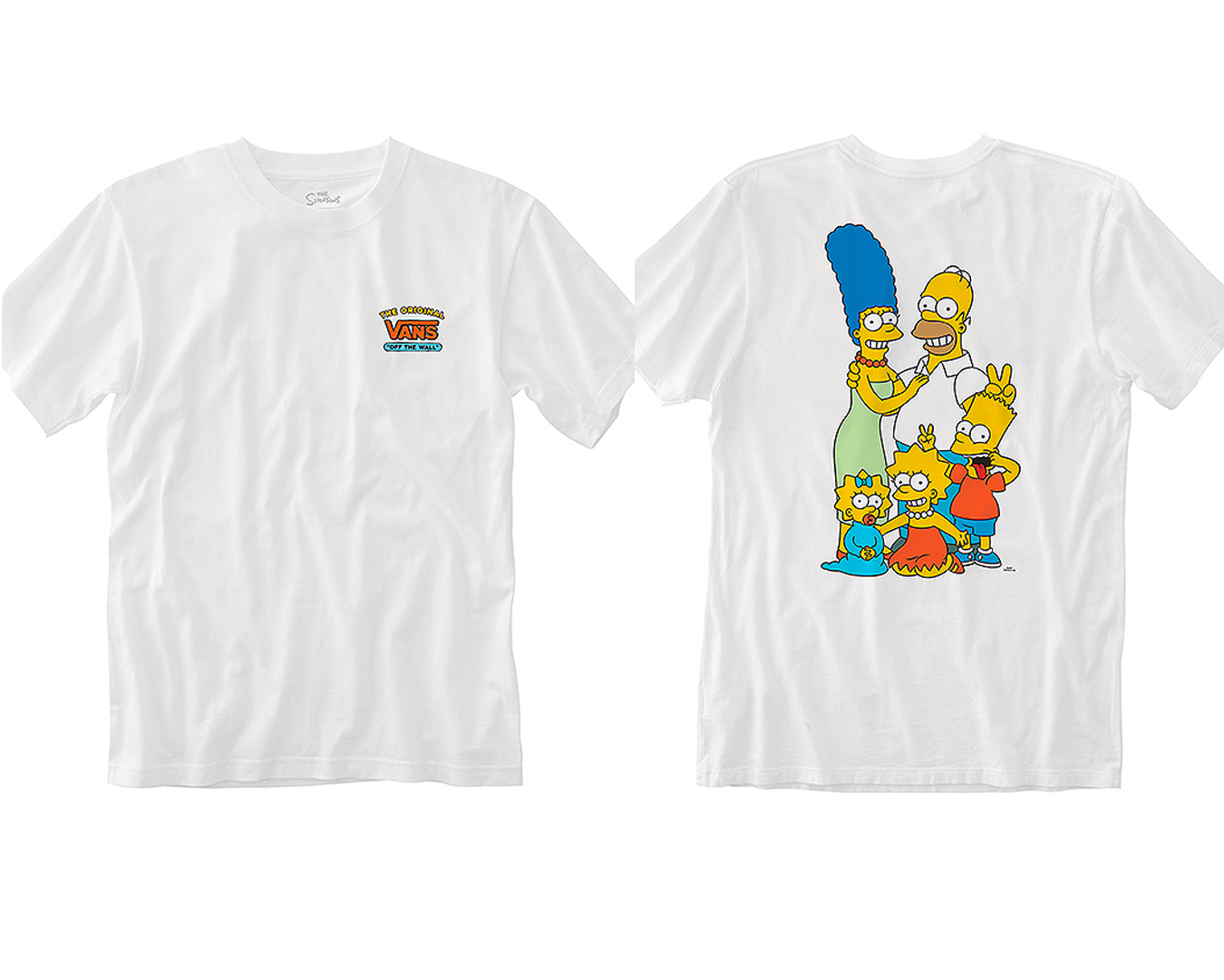 The front and back view of the Simpsons x Vans collab tshirt.