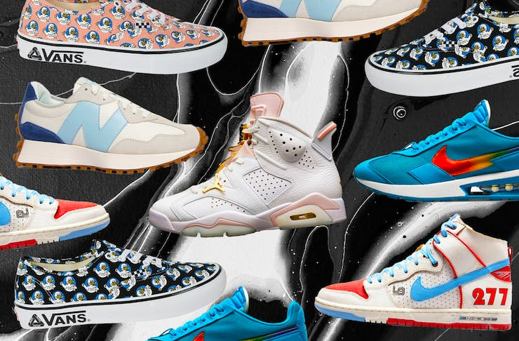 A collage of new sneakers being released in July 2021.