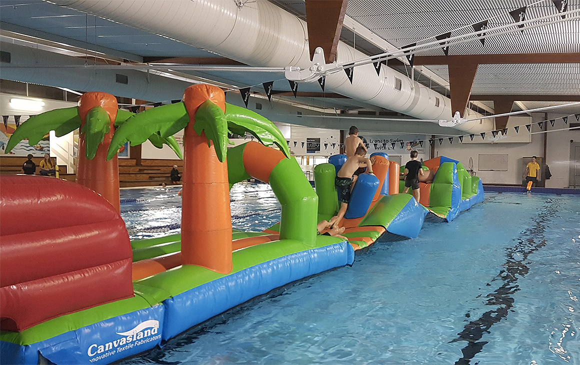 The aqua run at Stanmore Bay Pool and leisure centre being put through its paces.