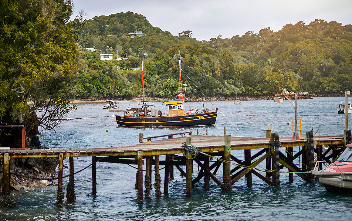 A view of Stewart Island showing a pier with an old ship in the background.