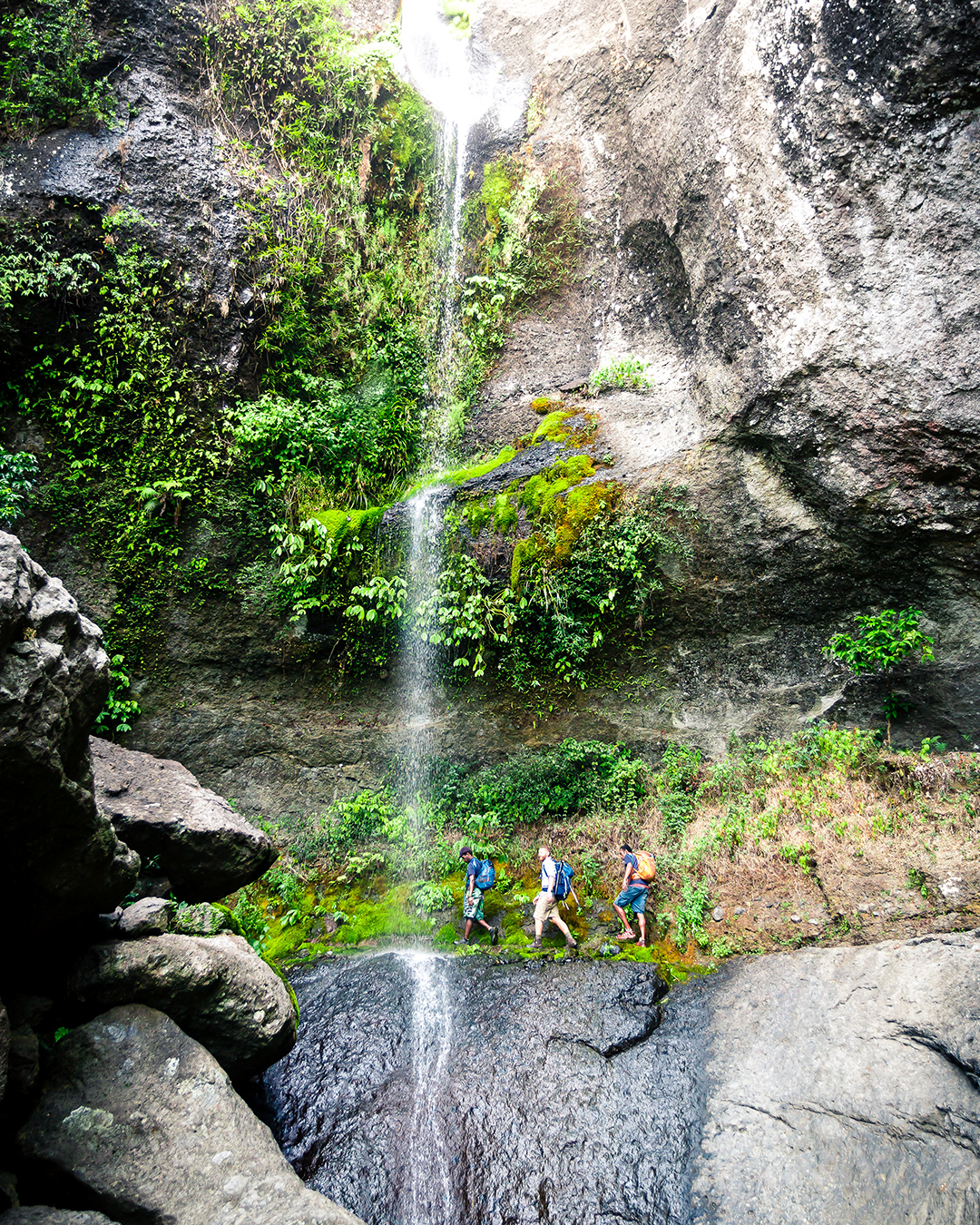 A group trekking past a waterfall in Koroyanitu National Park