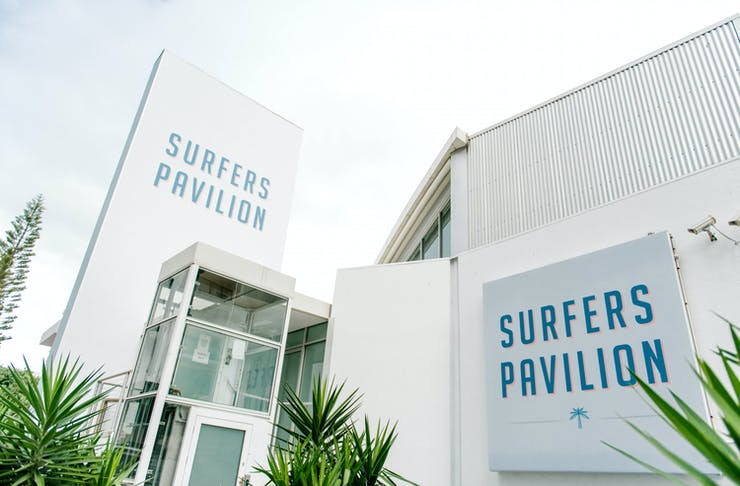 the exterior of surfers pavilion