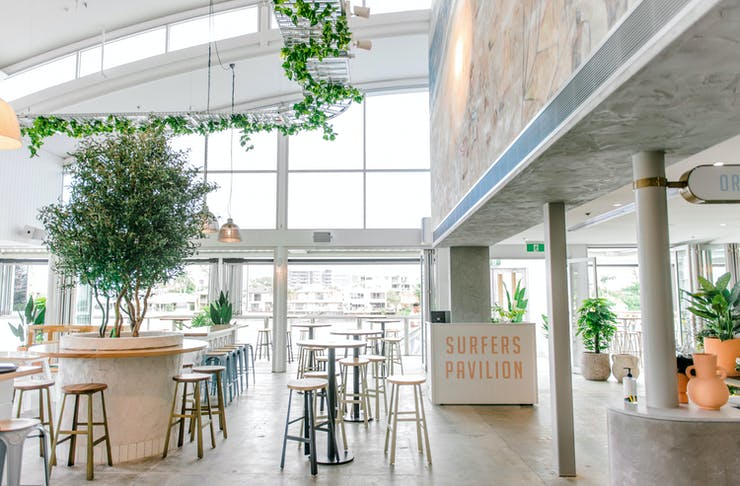 the bright interior of a waterfront venue