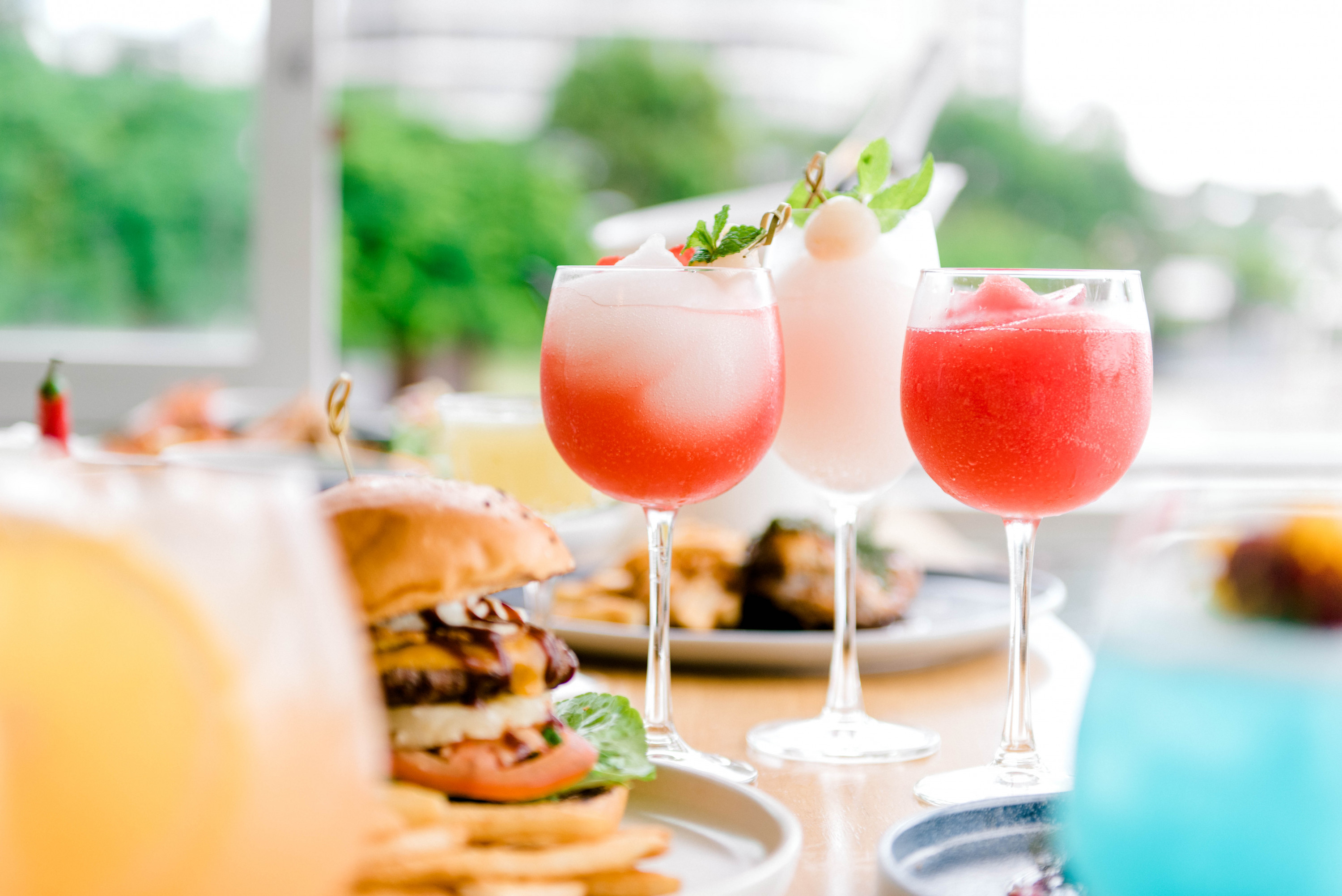 cocktails and food on a table