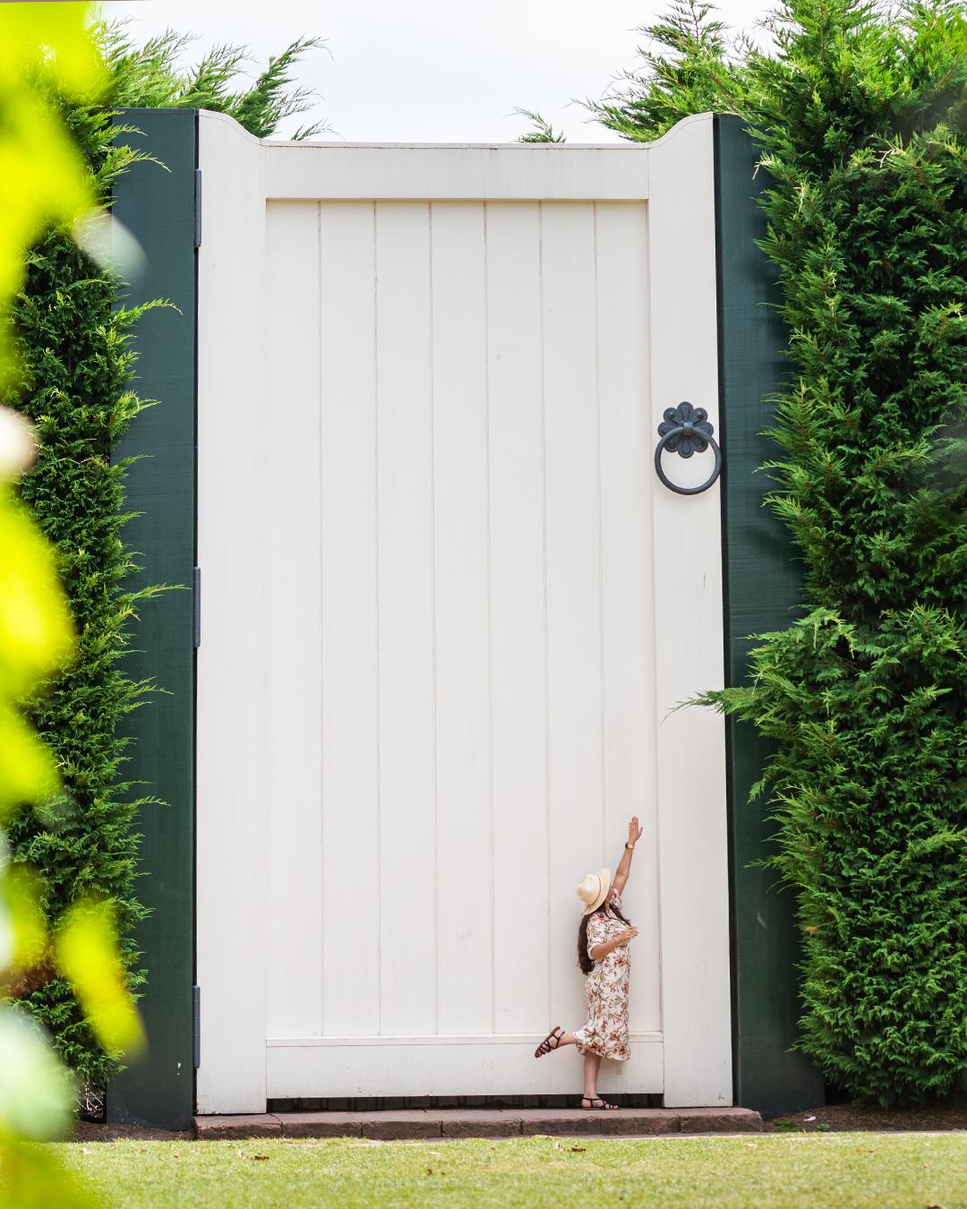 A giant door in the Surrealist Gardens in Hamilton