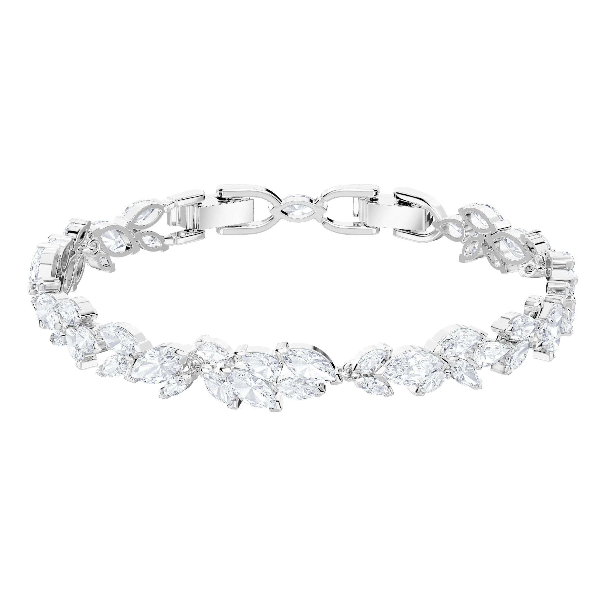 A silver bracelet with crystals inspired by a tree branch.