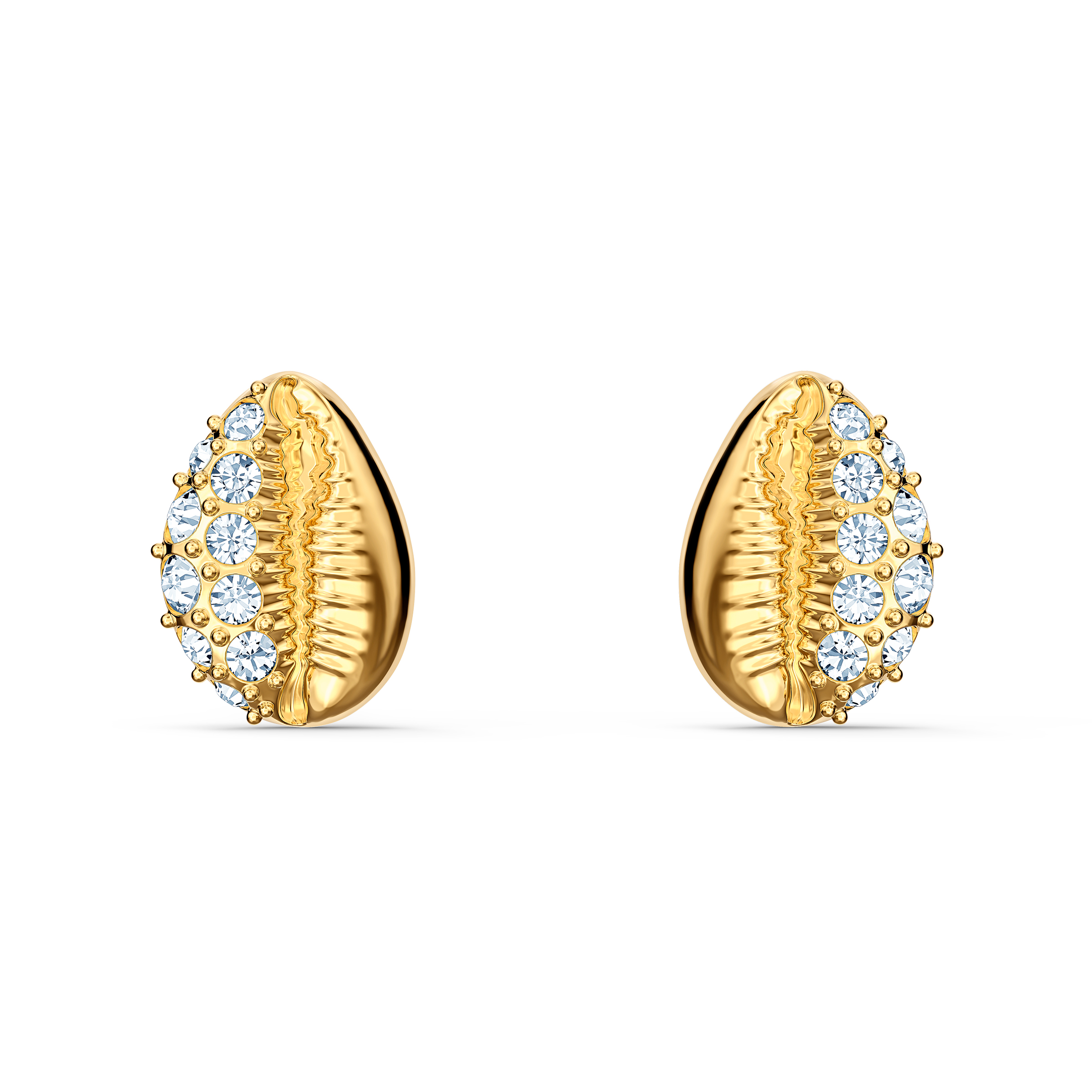 Dazzling gold shell stud earrings with Swarovski crystals.