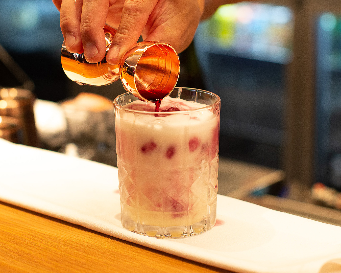 Finishing touches are added to the utterly gorgeous Tamaki Sour.