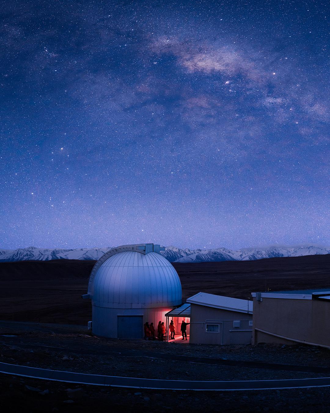 Mount John Observatory Under A Starry Night Sky