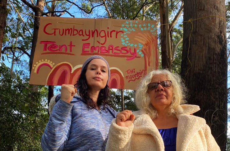 Members of the Gumbaynggirr community are protesting logging in the Nambucca State Forest.