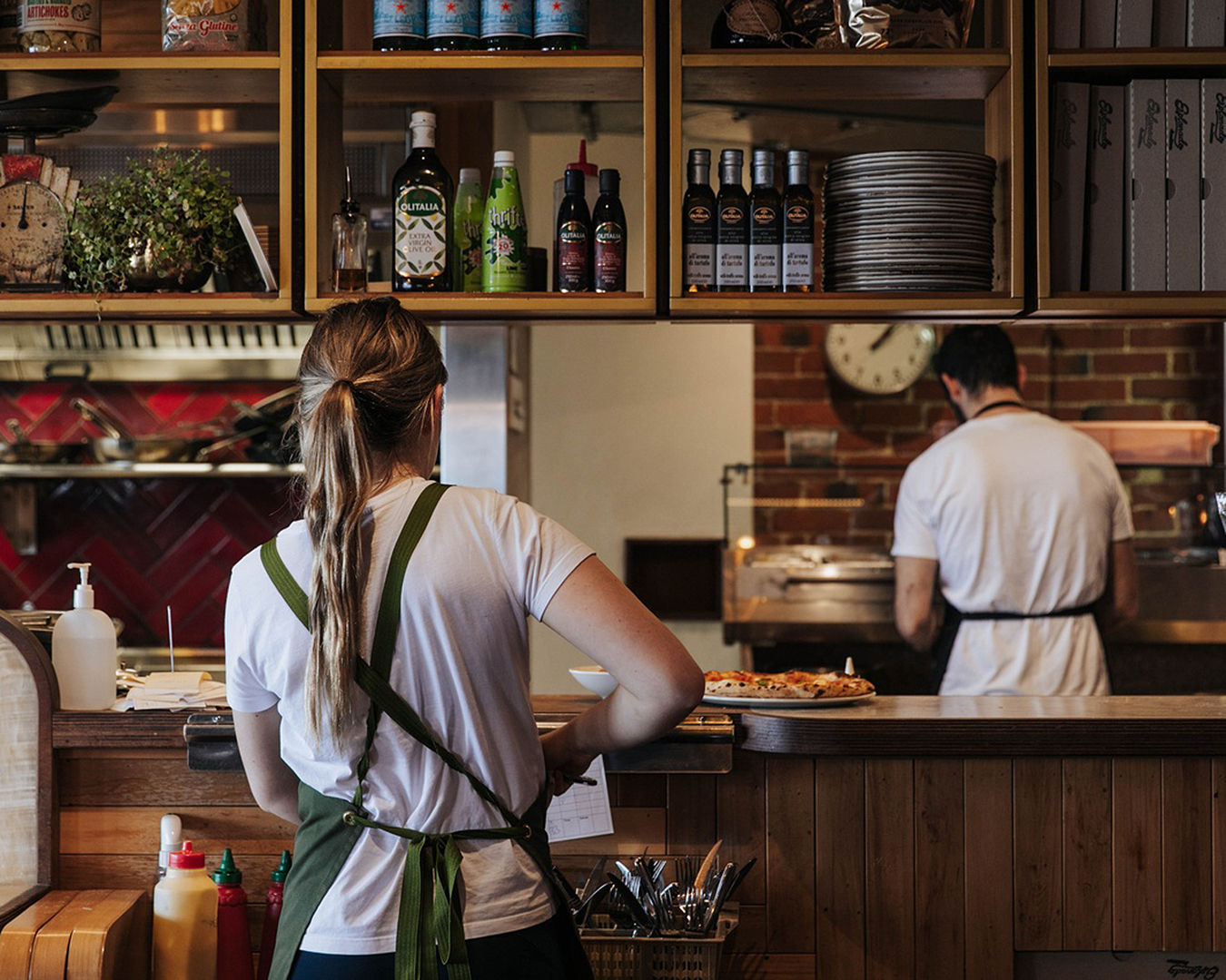 Server and chef hard at work at The Esplanade.