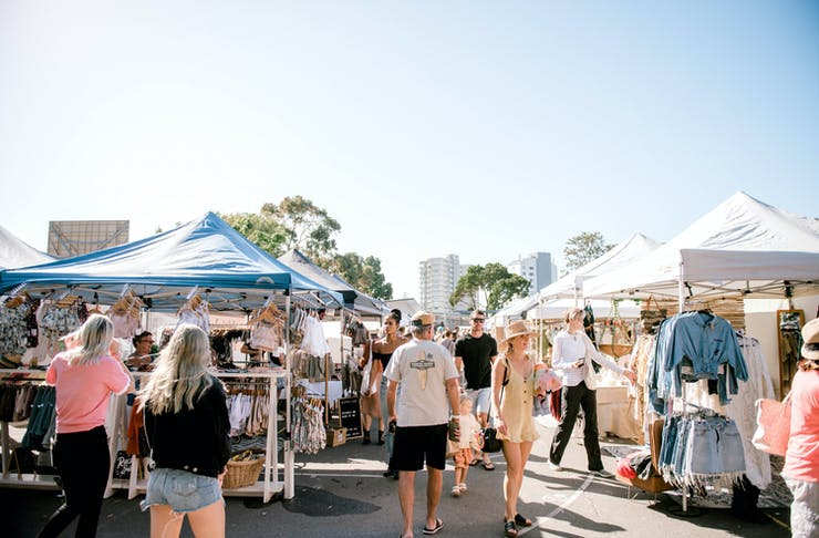 A shot of a busy outdoor market on the Gold Coast.