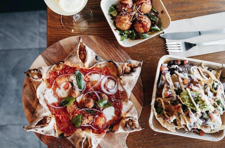 pizza tacos and arancini