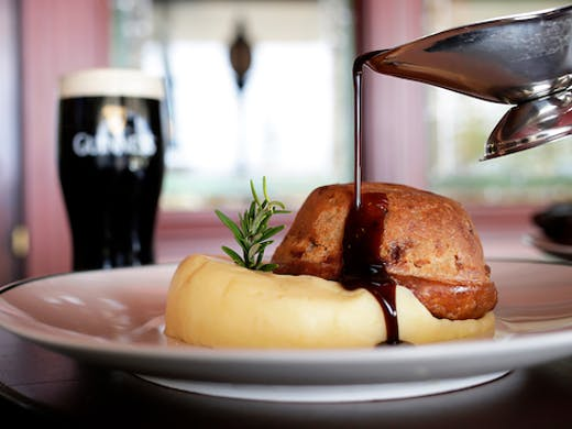 Beef And Guinness Pie With Mashed Potato And Gravy At The Galway Hooker Scarborough