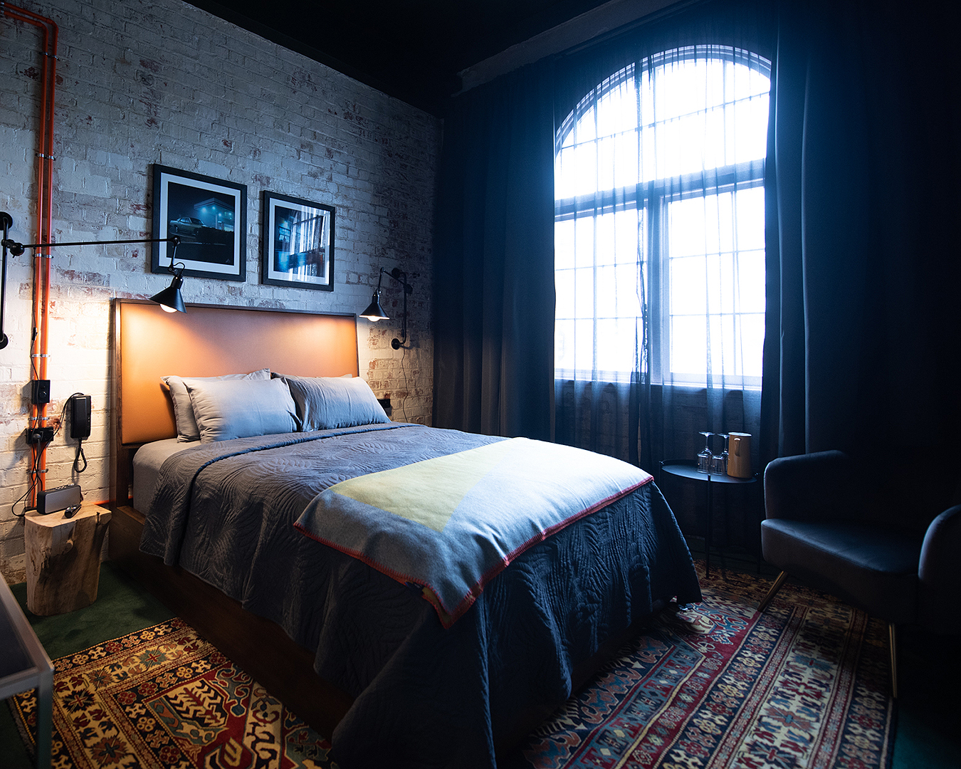 An urban looking bedroom at The Intrepid Hotel in Wellington.