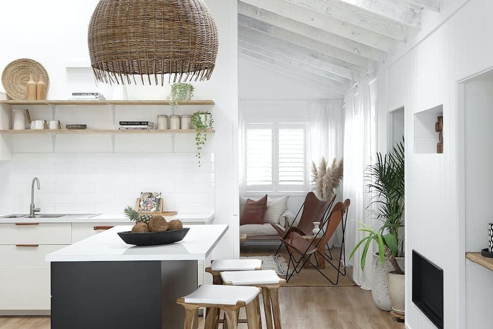 Inside the kitchen of a boho airbnb