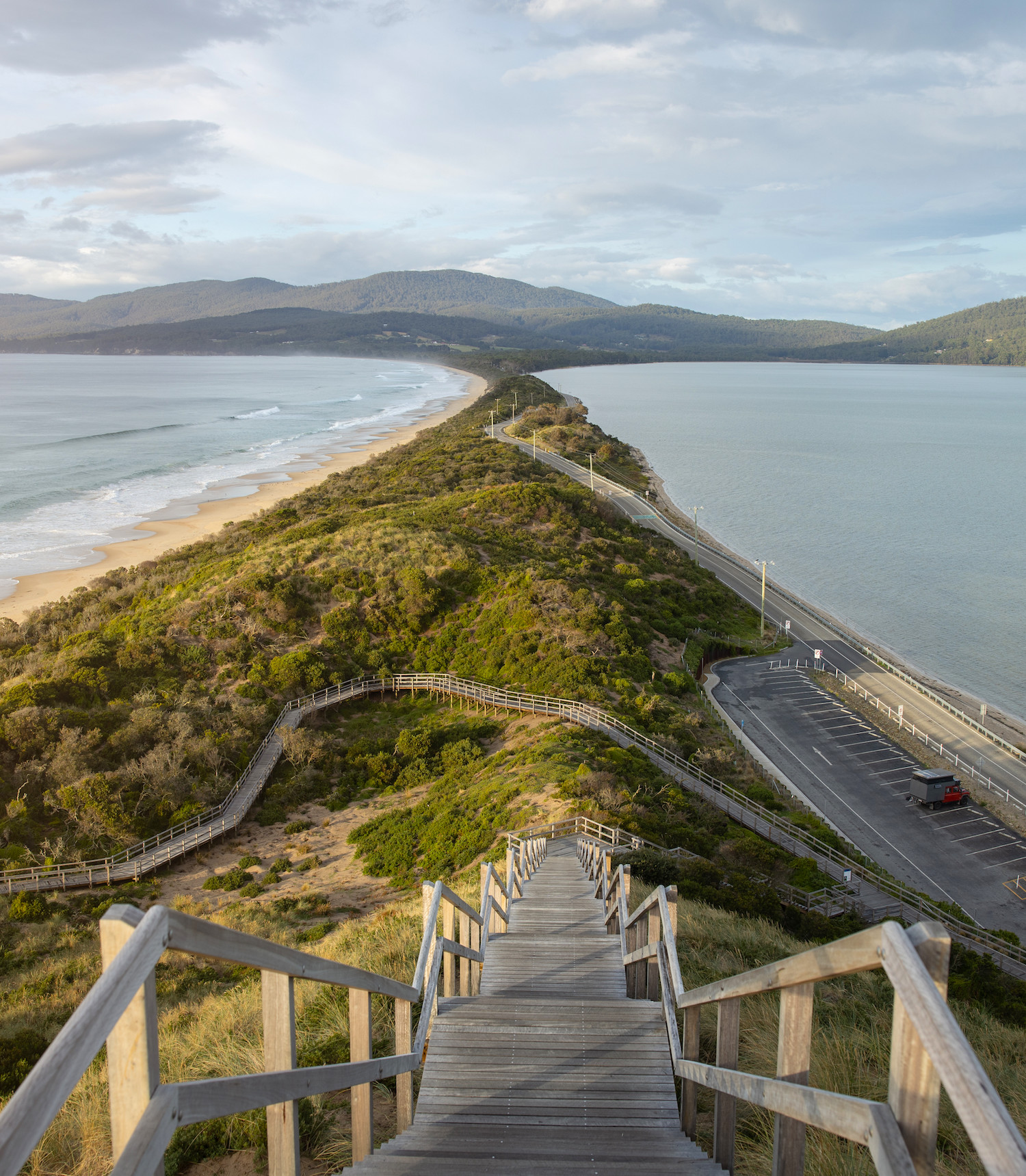 A shot from the top of the stairs at The Neck in Tasmania, Australia.