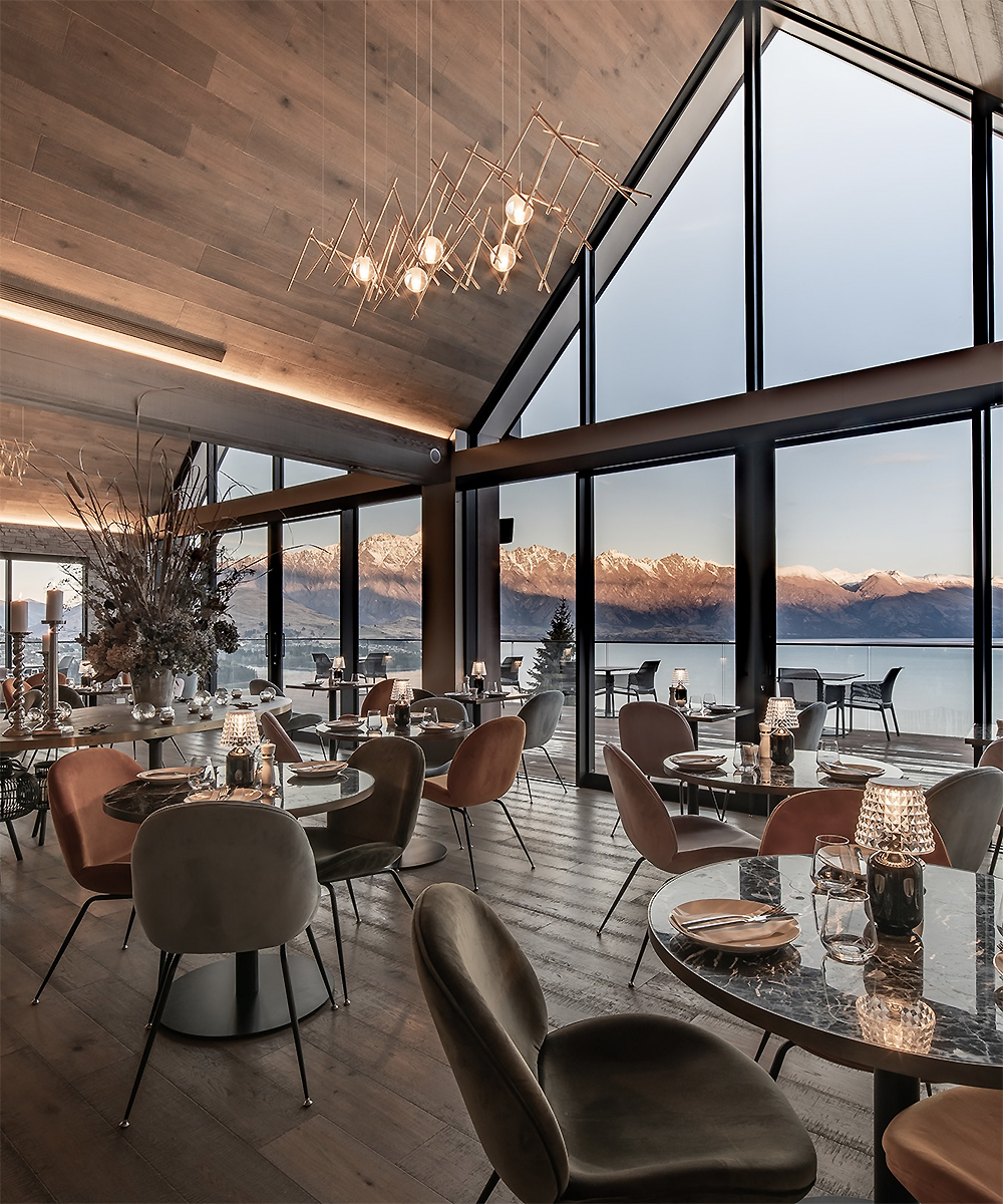 The interior of the stunning Nest Bar and Kitchen, one of Queenstown's best restaurants. With a view.