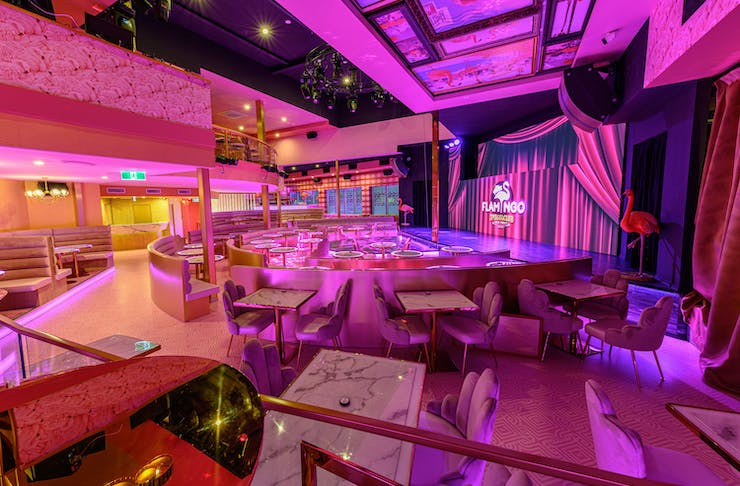 the interior of the pink flamingo spiegelclub
