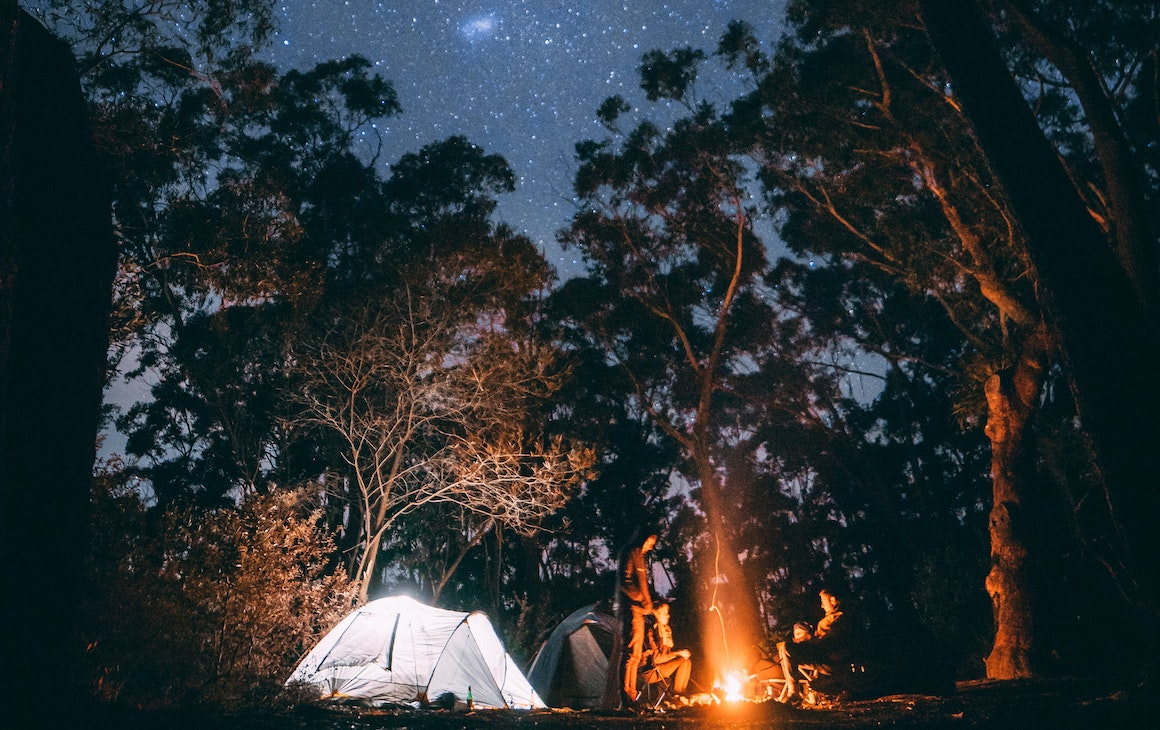 campers in Dwellingup at night