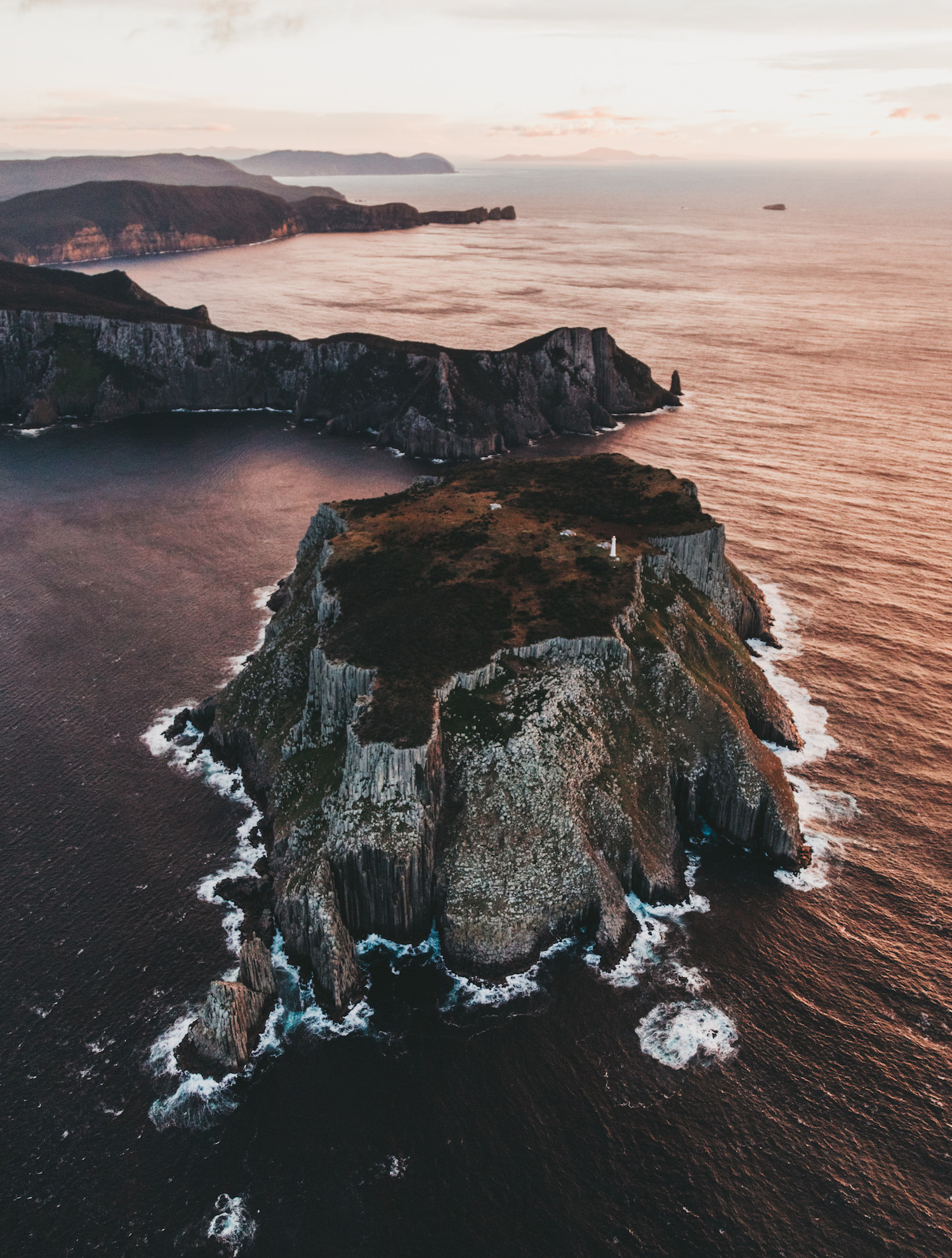 An aerial view of the Three Capes Track in Tasmania, Australia.